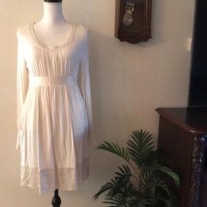 🌹 VS Ivory Silk Empire Waist Dress L (12) New